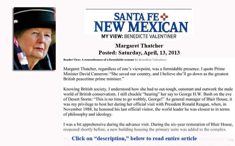 My View - in the Santa Fe New Mexican - Margaret Thatcher